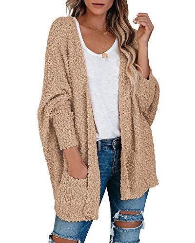 Ybenlow Womens Open Front Fuzzy Cardigan Sweaters Batwing Sleeve Lightweight Popcorn Loose Knit Sweater Cloak Tops Khaki