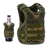 Lightbare Mini Tactical Vest Bottle Beer Vest Molle with Adjustable Straps, Beverage Holder for 12oz or 16oz Cans and Bottles, 7 Colors (Jungle Camo)