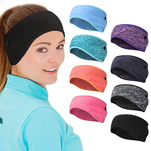 8 Pieces Ear Warmer Headbands with Buttons Fleece Muffs Headband Winter Running Sweatband Stretchy Ear Cover Cold Weather Ear Muffs Sports Earmuff for Women Men Cycling Skiing Jogging (Various Colors)