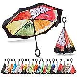 Sharpty Inverted Umbrella, Umbrella Windproof, Reverse Umbrella, Umbrellas for Women with UV Protection, Upside Down Umbrella with C-Shaped Handle (Fruits)