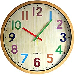 Giwateo 12 inch Large Wall Clock Silent Non-Ticking Round Modern Clocks Easy to Read Battery Operated for Kids Office Living Room Bedroom Classroom (Colorful)