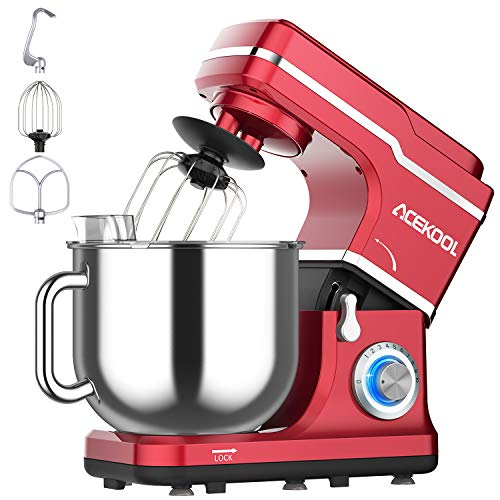 Stand Mixer, Acekool 7L Tilt-Head 1400W Food Mixer, 10 Spend Multi-Functional Kitchen Electric Mixer with Blue LED Light, Dough Hook, Mixing Beater & Whisk, Splash Guard(Red)