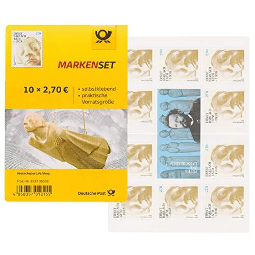 10 Stück 2,70 EUR postfrische Selbstklebende Briefmarken (150. Geburtstag Ernst Barlach) Frankaturware