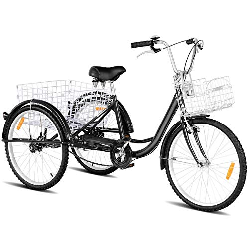 Review Of Black Single Speed 3 Wheel Bicycle Adult Tricycle Bell Foldable Front Basket Detachable Ba...
