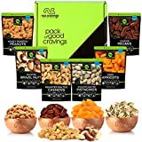 Dried Fruit & Nut Gift Basket in Green Box (6 Piece Assortment) - Rosh Hashanah Arrangement Platter, Birthday Care Package Variety, Healthy Food Kosher Snack Tray for Families, Women, Men, Adults