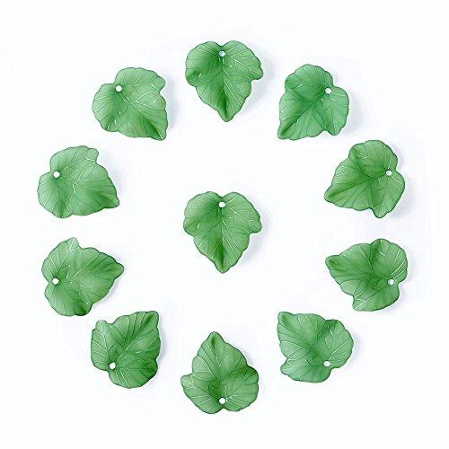 Craftdady - 100 colgantes de hojas de arce de acrílico transparente y verde esmerilado, 24 x 22,5 mm, con agujero de 2 mm para hacer manualidades