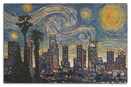 Lantern Press Los Angeles, California - Skyline - Van Gogh Starry Night (10x15 Wood Wall Sign, Wall Decor Ready to Hang)