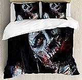 Resident Evil - Juego de ropa de cama, 135 x 200 cm, diseño de zombie, juego de supervivencia, microfibra, regalo para niños (zombie1, 135 x 200 cm + 80 x 80 cm x 2)