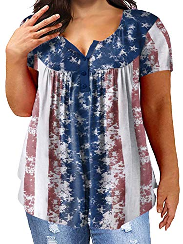 Yskkt 4th of July Women Plus Size American Flag Flowy Henley Shirts Summer Button Up Short Sleeve Pleated Tunic Tops Red