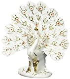 Feng Shui White Peacock - Hand Crafted and Decorated Fine Chinese Porcelain, Figurine Dо3532 (White)