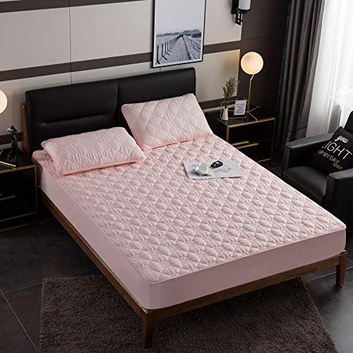 N / A King Size Fitted Sheets Deep,Brushed padded fit sheets, 4-corner all-inclusive skid covers, for single double king mattresses-Pink_120cm*200cm