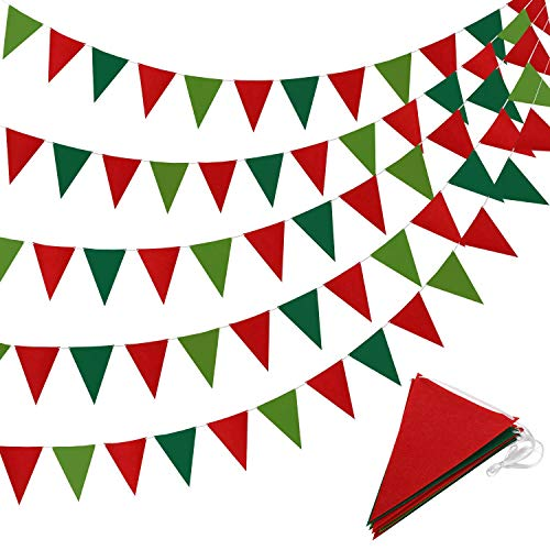 5 Pieces Christmas Pennant Banner Triangle Bunting Flag Banners Red and Green Garland Pennant Banner for New Year Christmas Party Celebrations Hanging Decorations, 41 Feet