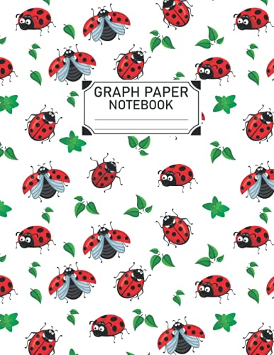 Ladybug Graph Paper: Ladybug Graph Paper Notebook 4x4 Quad Rule, Student Exercise Book Math Science Grid 100 pages