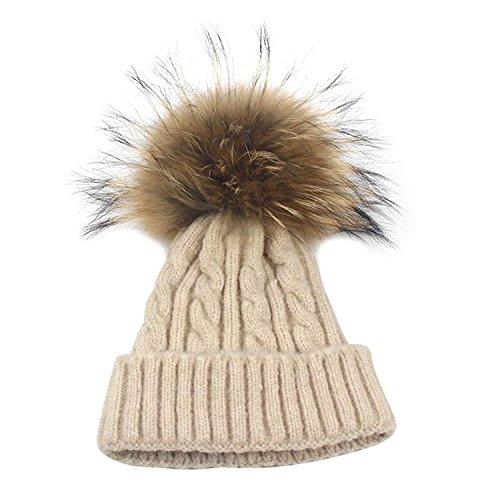 Isuper Wintermütze mit Fellbommel warme Skimütze Camping Hut Mütze Beanie mit Bommel Strickmütze mit Pelzball Haarball wie Weihnachts Geschenk Weiß (Beige)