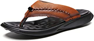 New Mens Brown Leather Flip Flops 2019,Summer Slip on Beach Walking Sandals Leather Casual Comfy Post Thong Clip Toe Ortho...