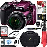 Nikon COOLPIX B500 16MP 40x Optical Zoom Digital Camera w/Wi-Fi - Plum (Renewed) + 16GB SDHC Accessory Bundle