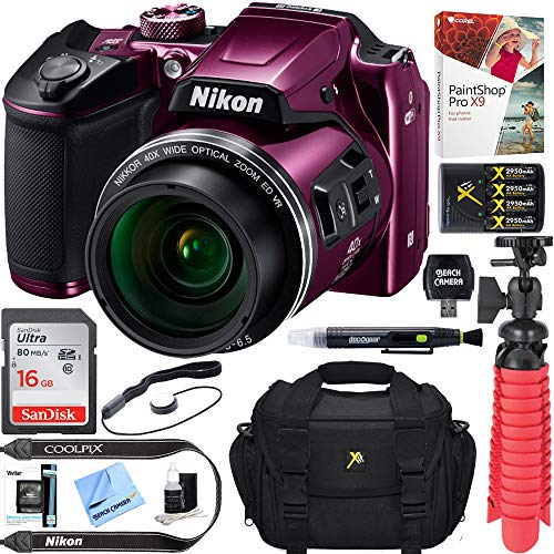 Nikon COOLPIX B500 16MP 40x Optical Zoom Digital Camera w/Wi-Fi - Plum (Renewed) + 16GB SDHC...
