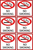 Rogue River 5' Pack of 6 No Smoking Sign Decal Sticker Indoor Outdoor Window Door No Cigarette Smoker (5' Pack of 6)