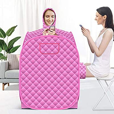 INLOVEARTS Portable Personal Steam Sauna at Home, with Upgrade 2.6L Steamer and Folding Chair, Full Body Spa for Weight Loss Detox Therapy (808098cm)