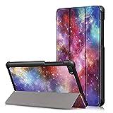 HereMore Lenovo Tab E7 Hülle TB-7104F, Ultra Slim PU Leder Tasche Schutzhülle Schale Smart Case mit Ständerfunktion für Lenovo Tab E7 17,7 cm (7,0 Zoll) Tablet-PC, Galaxy