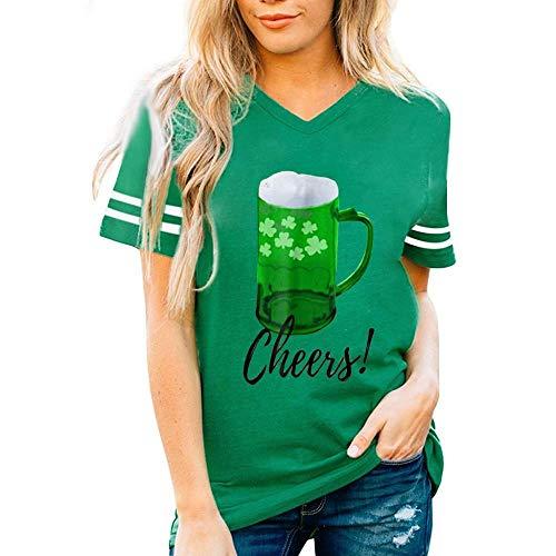 Doublehero Damen Kleeblatt Druck Tshirt Lässige St. Patrick\'s Day Kostüm Kurzarm-Shirt Leprechaun Top Bluse Träger Sweatshirt Frau Irland Shirt Patrick T Shirt (L, B)