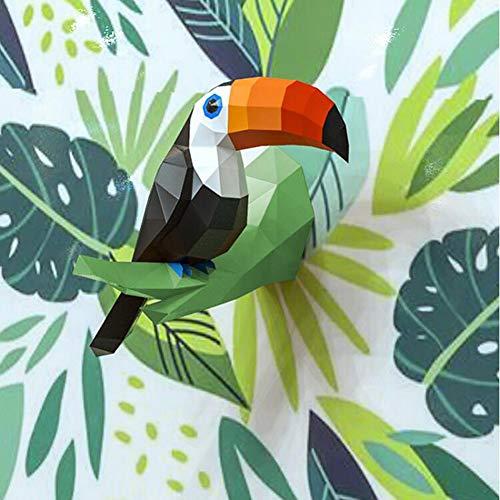 Toucan 3D Origami Papier Modèle DIY Papier Art Artisanat Kit De Bande Dessinée Animal Papier Artisanat Puzzle À La Main Jouet Éducatif,Vert