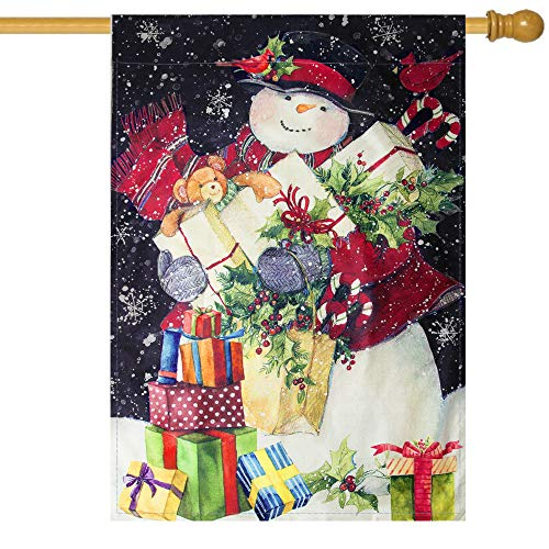 Christmas Garden Flag 28 x 40 Double Sided House Flag Winter Snowman with Red Scarf Gift Box Snowflake Seasonal Christmas Decorations Outdoor Yard Flags Gifts