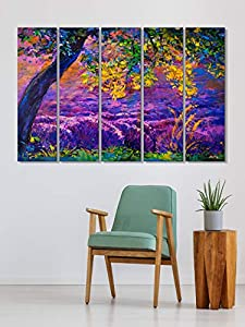 999STORE Aesthetic Big Size Natural Scenery Landscapes Wall Art Panels Hanging Painting - Set of 5 frames, Purple (130 X 76 cm)