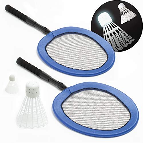 SHARPER IMAGE Complete Badminton Set with Two Collapsible Rackets, Jumbo LED Birdie and Standard Shuttlecock, Best Backyard Beach Games Fun for Kids & Adults, Extra Large Bird Lights Up for Night Play