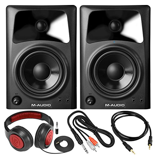 M-Audio AV42 Compact Studio Monitor Speakers for Professional Media Creation (Pair) with Samson Headphones and Assorted Cables Accessory Bundle