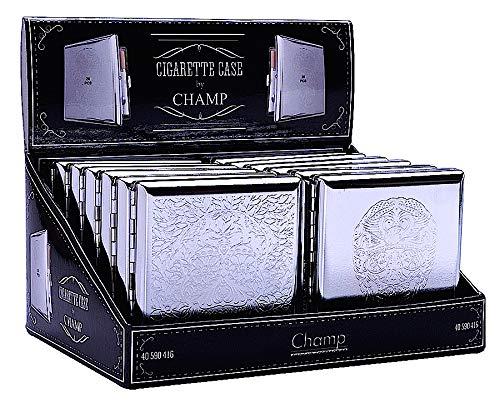 CHAMP Zigarettenetui 20er Skull Metall, Metallbox Totenkopf für Zigaretten + Zigarillo,Design Zigarettenetui Etuis 20 Filter Zigaretten Metall Box Schachtel 20er