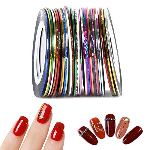 IWILCS 45 Rollen, Nail Art Stripes Tape, Nageldesign Nail Art Stripes, Striping Tape, Zierstreifen Packung in verschiedenen Farben, Sticker Nageldesign Deko DIY Nagelstudio