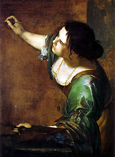 """Artemisia Gentileschi Self-Portrait as The Allegory of Painting 1639 Royal Collection Trust UK - Windsor Castle 30"""" x 22"""" Fine Art Giclee Canvas Print (Unframed) Reproduction"""