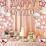 46 globos de cumpleaños de oro rosa con cinta de oro rosa, pancarta de feliz cumpleaños de Alldo, globos de papel de aluminio personalizados, decoraciones de fiesta para mujeres, niñas, hija