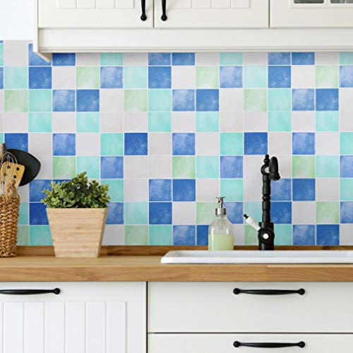 Vinilos muebles Cocina Pegatinas de pared Papel impermeable autoadhesivo Papel Pintado pared Muebles pegatinas azulejos de 0,61 x 5 M PVC de Papel Pintado Cuadro-B