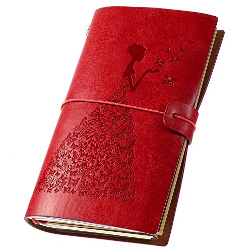Leder-Tagebuch, Vintage-Stil, nachfüllbar, Reise-Notizbuch, Schreibtagebuch für Frauen mit liniertem Papier + 1 PVC-Reißverschlusstasche + 18 Kartenhalter 11,9 x 20,1 cm (rot)