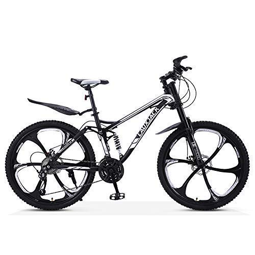 Sports Outdoors Commuter City Road Bike bicycle Mountain 26 inch Mountain Bikes Adult Student Dual Disc Brake Mountain Bicycle High-Carbon Steel Frame All Terrain Bikes Dual Suspension Black 6 Spo