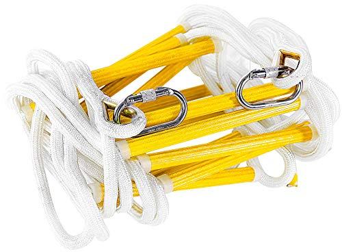 ISOP Feuerfeste Rettungsleiter - Notfall-Feuerleiter 7.5 m (25 Fuß 3 Stockwerke) Sicherheitsleitern mit Haken - Schnell Einsatzbereit und Benutzerfreundlich - Tragfähigkeit bis zu 900 kg