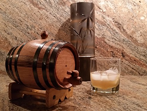 American Oak Barrel with Black Hoops -1 Liter or .26 Gallon