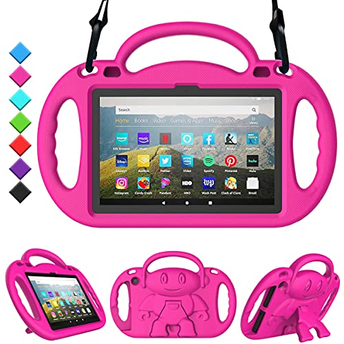 TOEVEK Kids Case for All-New Fire HD 8 Plus Tablet, Fire HD 8 2020 Case with Shoulder Strap - Durable Shockproof Handle Stand Protective Case ONLY for Amazon Kindle Fire HD 8 2020 Tablet, Pink