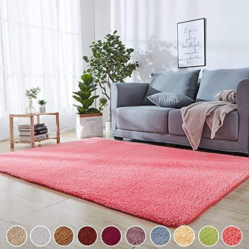 SODKK Teppich Hellrosa 150 x 250 cm Teppichbodenmatte Flauschig Weiche 8 Rug Grippers Rutschfester Teppichunterlage für Wohnzimmer Badezimmer