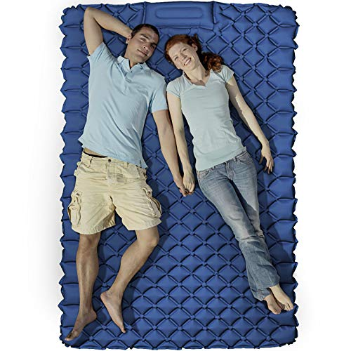 None/Brand KEEGOP Double Camping Sleeping Pad, Upgraded Foot Press Camping Mat Waterproof Comfy Air Mattresses for Tents, Backpacking, Indoors, Room for 2 Person (Dark Blue)