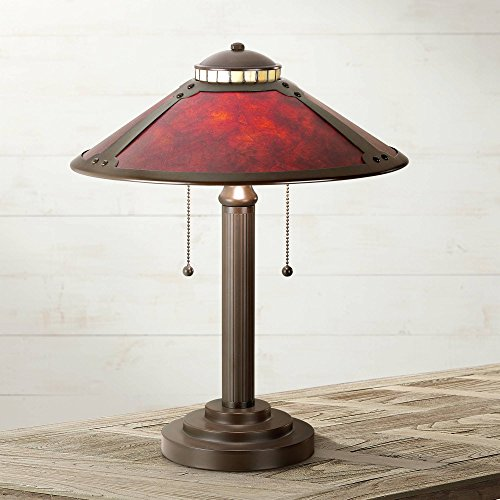 "Mica Collection Mission Desk Table Lamp 18 1/2"" High Antique Art Deco Oil Rubbed Bronze Natural Mica Shade for Bedroom Bedside Office - Robert Louis Tiffany"