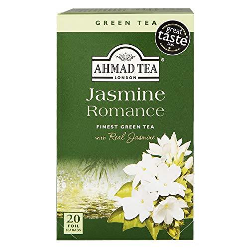 Ahmad Tea Jasmine Romance Grüner Tee mit Jasminblüten 20 Teebeutel mit Band/Tagged, 6er Pack (6 x 40 g)