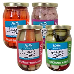 Includes 1 jar each of: Spicy Bloody Mary Garnish, Garlic Pickles w/ a Kick, Pickled Gingered Carrots, and Za'atar Pickled Cauliflower Low Sodium. Vegan. Gluten Free. No Sugar Added. No MSG. Zero Unpronounceables! No artificial ingredients, preservat...