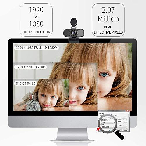LarmTek Computer Webcam,Pc Laptop Kamera mit Webcam Abdeckung,Webcam mit Mikrofon für Streaming,Widescreen Videoanruf und Aufnahmeunterstützung für Konferenze W3,De