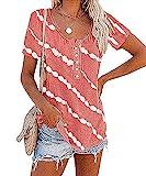 Manga Corta Mujer T-Shirts Moda Cómoda Verano Cuello Redondo Mujer Tops Único Chic Oblicuas Rayas Impresión Diseño Diario Ocio Suelta Transpirable All-Match Mujer Blusa E-Pink 4XL