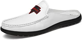 XUJW-Shoes, for Men Oxford Shoes Fashion Slippers Outdoor Leisure Summer Casual Sandals OX Leather Half A Towed Shoes Pure Colors (Hollow Optional) Durable (Color : White, Size : 8 UK)
