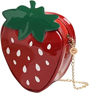 Ogquaton Mädchen Taschen Mode Erdbeere Form Reißverschluss Kunstleder Kleine Umhängetasche Schultertasche aus strapazierfä...