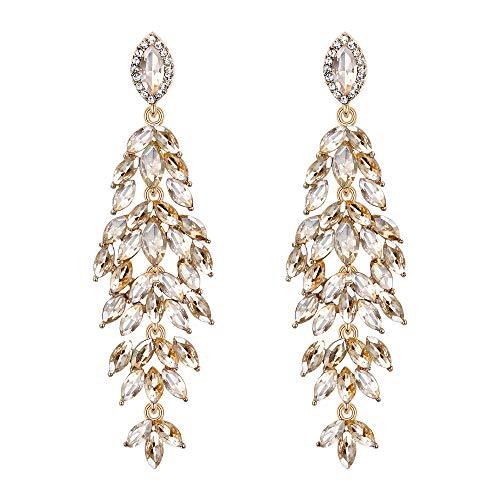 Clearine Damen Ohrringe Hochzeit Braut Kristall Multi Marquise-Form Blatt Cluster Kronleuchter Ohrringe Champagn-Geld Gold-Ton